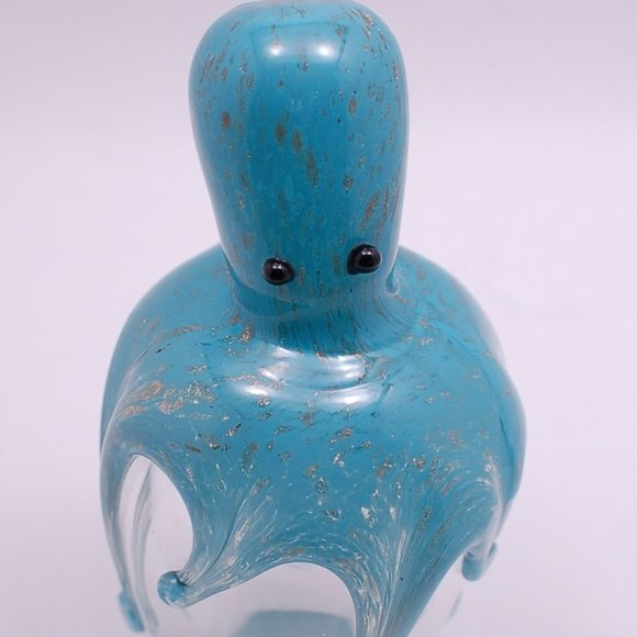 Octopus Blue Paperweight Art Glass
